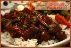 Crock Pot Mongolian Beef Ingredients  1 1/2 to 2 pounds London Broil (cut into strips) or beef tip roast (cut into stew pieces) 1/4 cup cornstarch 1 medium onion, sliced thinly 3 to 4 large carrots, sliced thinkly 1/2 teaspoon ginger, minced 2 cloves garlic, minced 3/4 cup soy sauce 1/2 cup water 1/4 cup dry sherry 3/4 cup brown sugar 1/4 teaspoon black pepper