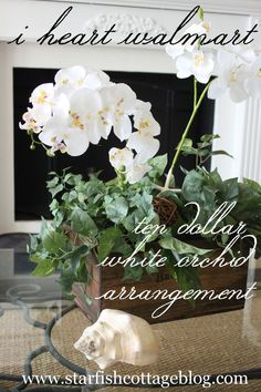$10 Orchid Arrangement DIY featured today on Starfish Cottage http://kristyseibert.com/blog/2014/09/i-heart-walmart-10-orchid-arrangement.html