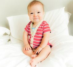 Short Sleeve Baby Cardigan - Red and Cream Striped