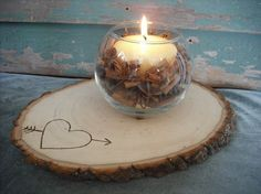 Slab of a tree for candles or vase, personalized with your initials in heart.