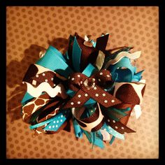 Turquoise, Brown and Tan...Wild and Crazy Loopy Bow...Girls Hairbows...Baby/Infant Hairbows...Over the Top Hairbows. $10.00, via Etsy.