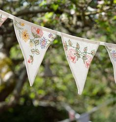 Add a handmade vintage touch to any gathering with buntings made from upcycled linens. #EtsyCustom