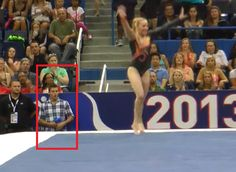 Sam Mikulak channeling the infamous vault judge from London after Mykayla stuck her double-double layout