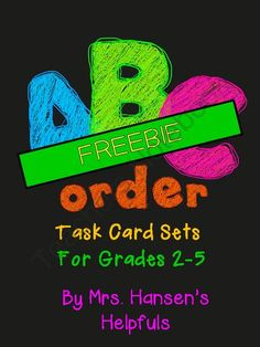 ABC Order Task Cards Easy FREEBIE from Mrs. Hansen's Helpfuls on TeachersNotebook.com -  (7 pages)  - Easy Version of my Full Product. Task Cards with answer sheets.
