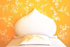 bedroom colors stencil, headboard, focal points, yellow accent wall bedroom, craft project, highlight, accent walls, craft rooms, stencil wall