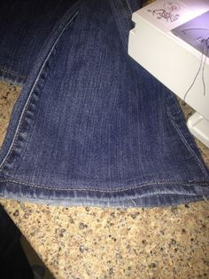 Hem jeans and keep original hem on jeans... great idea!