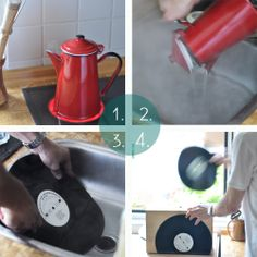 DIY record bookends from Olive Green Anna