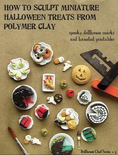 Miniature Tutorial - How to Sculpt Miniature Halloween Treats from Polymer Clay... 32.95, via Etsy.