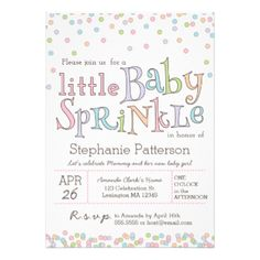"""Pastel colored circles of confetti sprinkles down on this cute baby shower design for a """"sprinkle"""" in honor of the expecting mom. Perfect for second babies and when expecting a different gender than the first. Sweet girly color scheme includes a palette of baby pastels in pink, blue, orange, purple and green. #baby #shower #sprinkle #baby #sprinkle #confetti #pastel #modern #sweet #girl #new #baby #candy #baby #girl"""