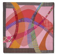 """Plaid Play, 31.5"""" x 31.5"""", by Ruby Horansky. Art Quilts Lowell 2009.   Cotton, perle cotton thread, machine pieced and quilted, embroidered.  Posted by Brush Gallery & Studios"""