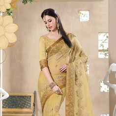 Beige #NetSaree with Blouse