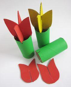 tulip paper, flower crafts, kid craft, paper roll, beauti flower