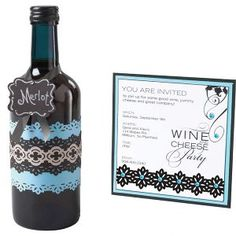 Wine Tasting Party Invite and Bottle Decor #FaveCrafts