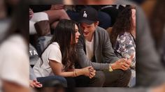 VIDEO: Mila Kunis and Ashton Kutcher Look Loved-Up at the Basketball - http://articletalks.com/arts-entertainment/video-mila-kunis-and-ashton-kutcher-look-loved-up-at-the-basketball/