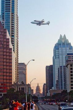 Endeavour over Austin, TX going to final resting spot in L.A. 9/20/12