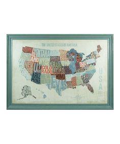 USA Text Map Wall Art