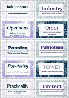 100 Value Cards (O-P) inspired from Motivational Interviewing. Print out on Avery business cards and use with clients to help them define and prioritize their values.