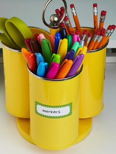 Have different containers for your office supplies. It saves time and looks cute: http://www.bhg.com/decorating/storage/organization-basics/declutter/?socsrc=bhgpin011514writingutensils&page=20