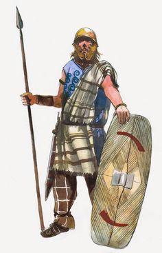 La guerre des Gaules : guerrier ligure. Illustration par Vincent Pompetti.