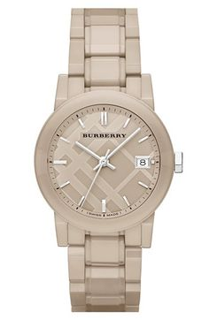 Burberry Check Dial Ceramic Bracelet Watch, 34mm available at #Nordstrom