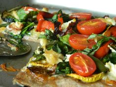 Roasted Vegetable & Goat Cheese Pizza