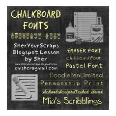 Chalk board fonts - Blackboard Art for Digital Pages