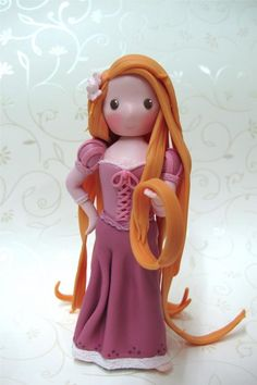 Tangled Rapunzel figurine for cake topper or by claydoughandme