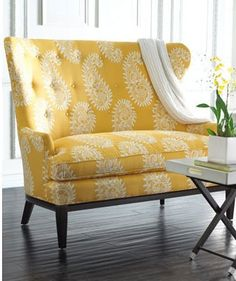 (Jenni) Wow I love this big yellow chair! #Upholstery #Idea #Inspiration