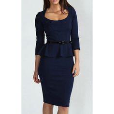 3/4 Sleeves Scoop Neck Belt Beam Waist Packet Buttock Flounces Sexy Women's Peplum Dress