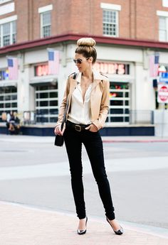 beige leather jacket x beige blouse x black skinny jeans