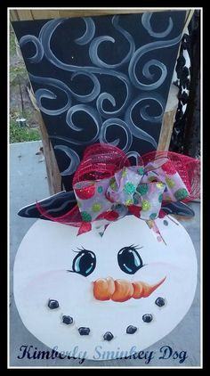 Swirly Snowman Door or Wall hanging Large Size with Bow... handpainted with detail, ADORABLE!