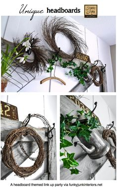 UNIQUE HEADBOARDS for the bedroom - a themed link party via Funky Junk Interiors