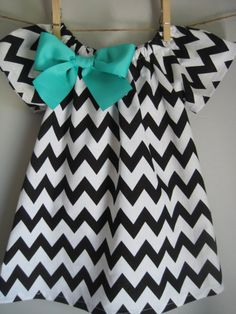 Black Chevron Dress Baby Dress Toddler Dress Girls Dress (with removable bow) Sizes Newborn -Size 6