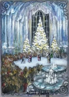 Harry Potter winter Christmas scene 'The Yule Ball'. Sketch card (2.5 x 3.5 inches) by Soni Alcorn-Hender (Bohemian Weasel)