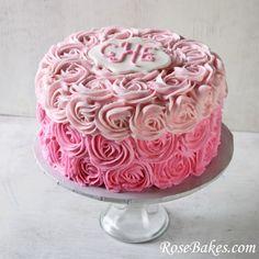 Pink Ombre Roses Birthday Cake | http://rosebakes.com/pink-ombre-roses-birthday-cake/