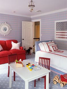 A Red, White and Blue Boy's Bedroom