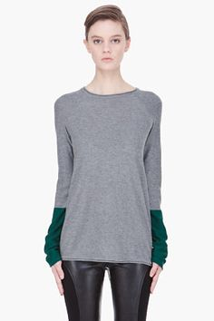 T BY ALEXANDER WANG grey and green Color Block Pullover