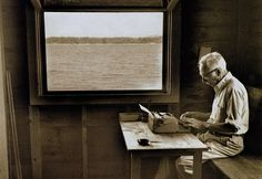 """E.B. White suggests a movement in America called """"Don't write to E.B. White until he produces another book."""" cabin, books, maine, boats, writing, letters, charlottes web, typewriters, white write"""