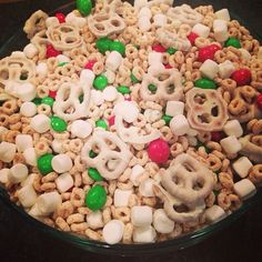 White Christmas Trail Mix:   Frosted Cheerios  White chocolate covered pretzels  Marshmallows Peanut & Regular M&M's (red and green) Yogurt covered raisins