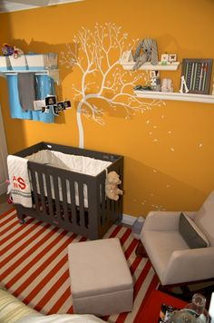 Addison's room 1 color schemes, tree designs, small rooms, tree art, pastel colors, yellow walls, tree murals, mustard yellow, babies rooms