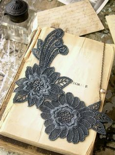lace lace jewelry, bookmarks, selmin lace, diy fashion, lace necklac, appliques, necklaces, grey lace, old books
