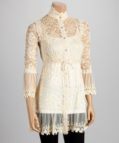 Tea Wash Lace Mandarin Collar Tunic