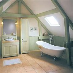 Great attic bath. love the sage and cream paint