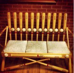 awesom bench, craft idea, baseball bench, sport, baseball bats