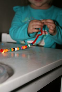 bracelet making with pipe cleaners