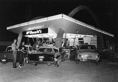 This is typical of what what a McDonalds looked like when they opened in Des Moines in the early 1960's. Walk up window, park close by and no indoor seating.