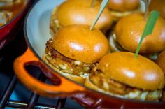 Pan Seared Crab Burgers with Carraway-Apple Slaw