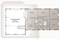 one room home addition plans | Waterview Great Room Addition – Post and Beam Floor Plan