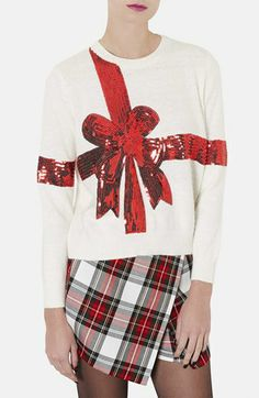 Topshop 'Present' Sequin Ribbon Sweater available at #Nordstrom
