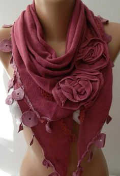 Pink / Elegance  Shawl by womann on Etsy,